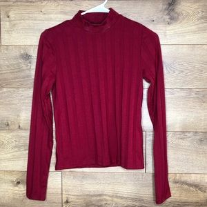 Forever 21 Red Striped Mock Neck Top size S